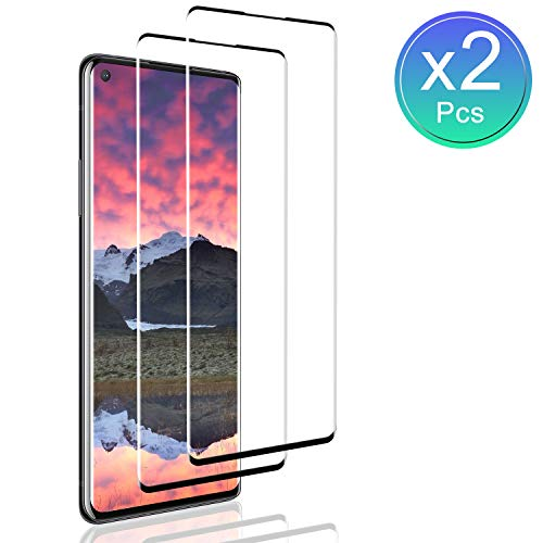 SNUNGPHIR Cristal Templado para OnePlus 8 Negro Protector Pantalla, [2-Piezas] Cobertura Completa [9H Dureza] [3D Curvado] [Resistente a Arañazos] [Sin Burbujas] Vidrio Templado para OnePlus 8