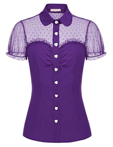 Belle Poque GF574 - Blusa para mujer, estilo vintage y retro, manga corta con círculos, retales Violet Profond (574-6) S