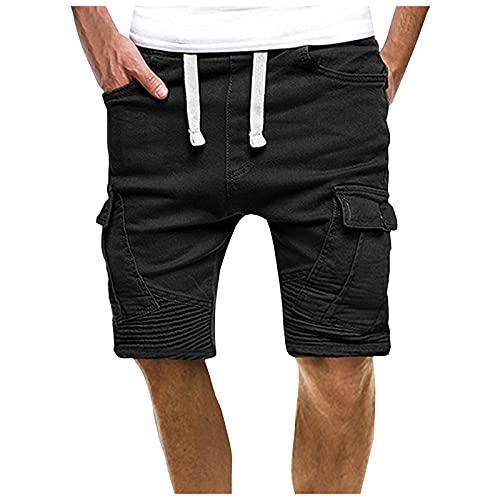 Briskorry Pantalones cortos para hombre con cordón, bolsillos, holgados, de verano, de deporte, para el tiempo libre, para correr, hacer senderismo, Negro , XL