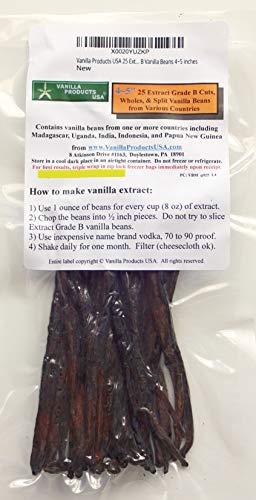 Vanilla Products USA 25 Extract Grade B Vanilla Beans 4~5 inches (12~14 cm)