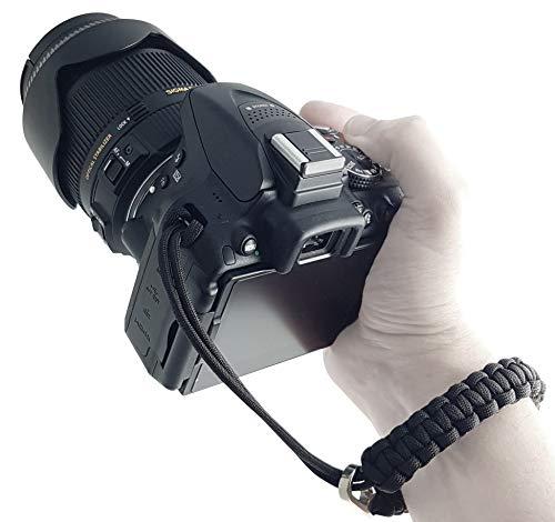 Kamera-Handschlaufe aus Paracord - SCHWARZ - für DSLR SLR und Kompakt-Kamera - Handgelenk-Schlaufe Kameraschlaufe Kameraband Trageschlaufe - MIND CARE ESSENTIALS
