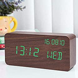 XGCP Creative Alarm Clock Voice Control Electronic Unique Silent Desk Table Clock Wooden Watch Multifunction Cube Decor UV Alarm Clock 2