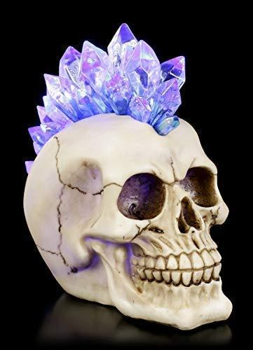 Figuren Shop GmbH Irokesen Totenkopf mit LED-Beleuchtung und Farbwechsler - Crystal Hawk | Fantasy-Deko, handbemalt