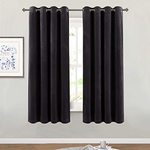 Blackout Velvet Curtains for Bedroom - Super Soft Smooth Soundproof Velvet Drapes with Grommet Top Heat & Noise Reducing Window Covering for Study Room/Loft, W52 x L63, Black, 2 Pcs