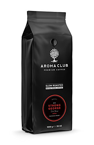 Aroma Club Kaffeebohnen 1 kg – Strong George Dark röstung – brasilianisch – Slow Roast – UTZ certified & co2 Neutraal