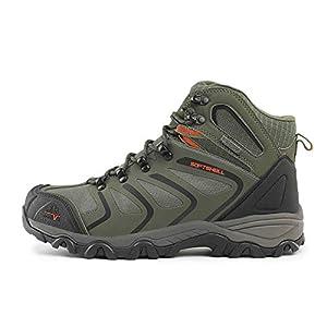 NORTIV 8 Men's 160448 Olive Green Black Orange Ankle High Waterproof Hiking Boots Outdoor Lightweight Shoes Backpacking Trekking Trails Size 14 M US