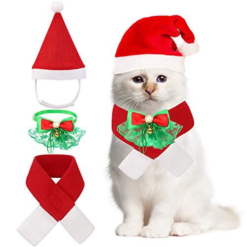 QKURT Weihnachten Haustier Fliege Kragen Weihnachtsmann Mütze Schal Anzug für Katzen Welpen Hunde, Haustier Weihnachten Kostüme Party Kostüm, Mode Wärme