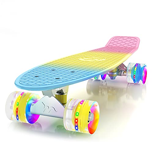 M Merkapa Skateboards with Colorful LED Skateboard Wheels - Great Skateboards for Kids to Adults, Beginners to Skateboarders(Multi-Colored)