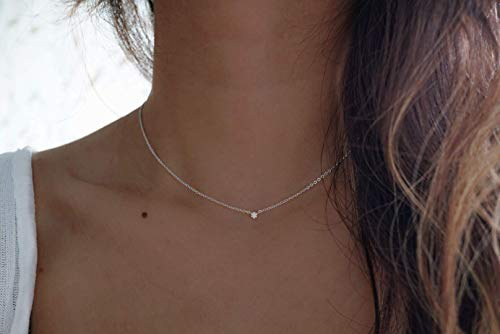 Silver Dainty Diamond Choker Necklace - Diamond Choker Necklace - 925 Sterling Silver Choker necklace - Handmade Minimalist jewelry - Tiny Diamond