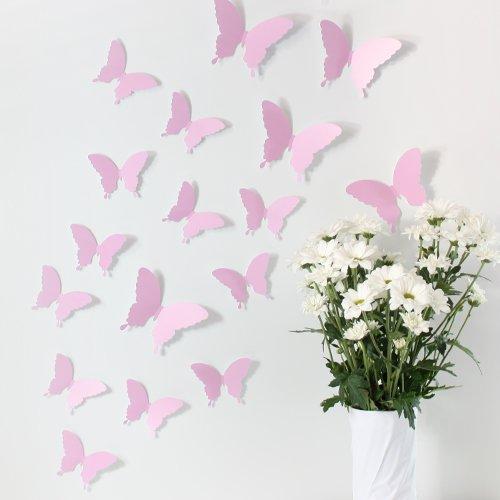 Wandkings Schmetterlinge im 3D-Style in ROSA, 12 Stück, Wanddekoration mit Klebepunkten zur Fixierung