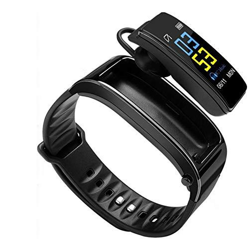 LTLJX Smart Armband Fitness Tracker 2 in 1 Smartwatch Ohrhörer mit Blutdruck Pulsmesser Freisprechfunktion Business Bluetooth Headset Schrittzähler für Herren Damen,Schwarz