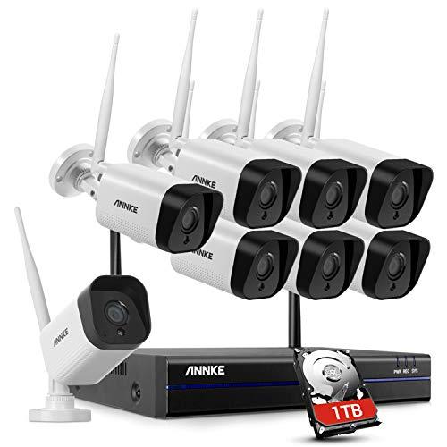 ANNKE 8CH WLAN Wireless Überwachungskamera System Set mit 1TB Festplatte WiFi HDMI NVR mit 8 X 1080P 2.0MP WLAN Outdoor Außen IP Überwachungskamera, 30M IR Nachtsicht Funk Überwachungsset