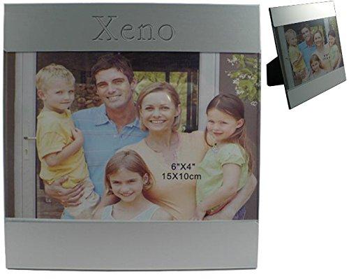 Kundenspezifischer gravierter Fotorahmen aus Aluminium mit Namen: Xeno (Vorname/Zuname/Spitzname)