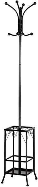 Topeakmart Coat Rack Stand Tree Entryway Coat Rack Hall Tree Hat Hanger 8 Hooks W Umbrella Holder Black