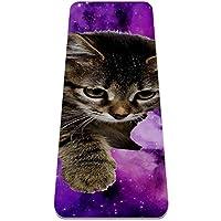 ヨガマット 紫銀河の子猫 あらゆるタイプのヨガ、ピラティス、フロアワークアウト用の極厚の滑り止めエクササイズ&フィットネスマット