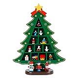 Mesa de Madera Árbol de Navidad Pequeño Escritorio Árbol de Navidad con Adornos en Miniatura Mesa de Escritorio DIY Mini Árbol Decoraciones navideñas para el hogar Regalo de los niños Green