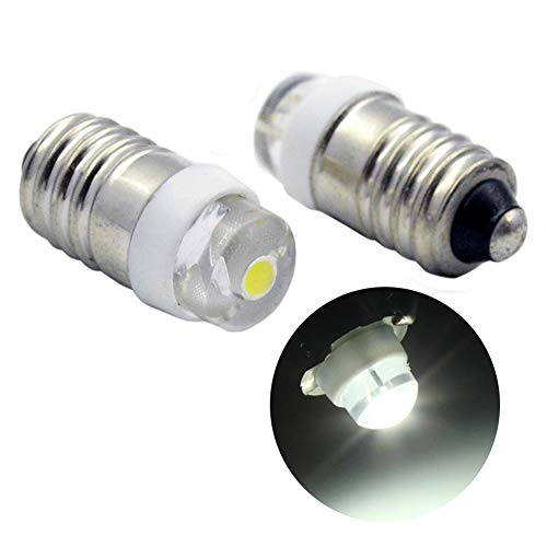 Ruiandsion E10 Bombilla LED DC 3-18V 0.5W 6000K Blanco 200LM Bombilla LED para linterna antorcha Linterna antorcha, Tierra negativa (paquete de 2)