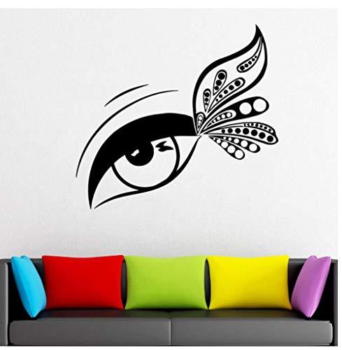 FDFDFD Extension de cils décalque fenêtre vinyle autocollant salon de beauté cils mascara sourcils papier peint maquillage chambre autocollant 62x57 cm