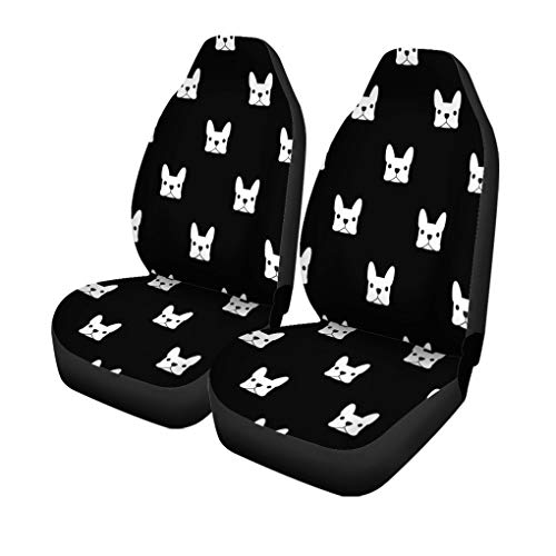Pinbeam Car Seat Covers Puppy French Bulldog Pattern Frenchie Animal Outline Face Pet Set of 2 Auto Accessories Protectors Car Decor Universal Fit for Car Truck SUV