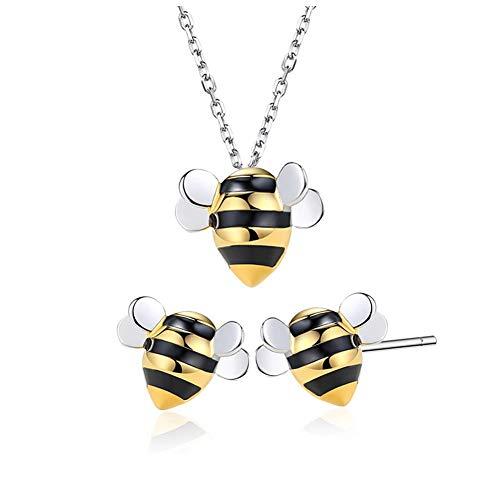 Helen de Lete Kleine Biene 925 Sterling-Silber Schmuck Set (Halskette+Ohrringe)