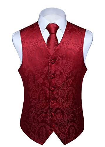 Hisdern Manner Paisley Floral Jacquard Weste & Krawatte und Einstecktuch Weste Anzug Set, Burgund, Gr.-3XL (Brust 54 Zoll)