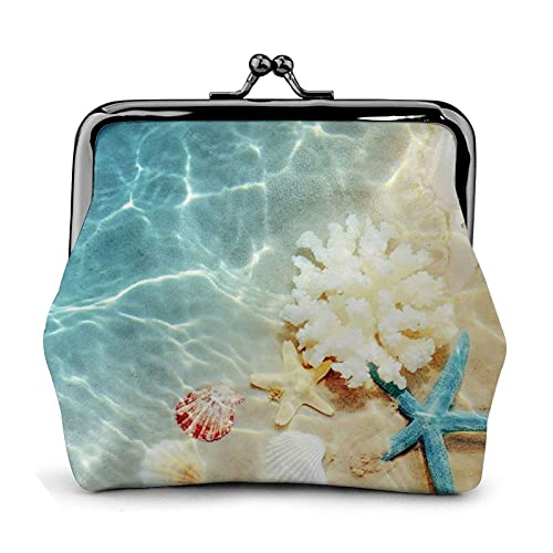 Carteras de Cuero Starfish Coral and Seashell Wallet Buckle Leather Travel Makeup Change Purse Women Gift