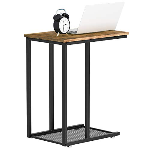 YITAHOME Side Table with Mesh Storage End Table Sofa Table Nightstands for Living Room Bedroom, Easy Assembly - Rustic Brown