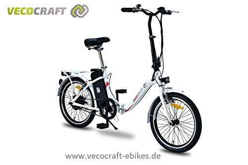 VecoCraft Nemesis, Elektrofahrrad, Klapprad, E-Faltrad, Ebike, 36V 250W, 20 Zoll, Farbe: weiß