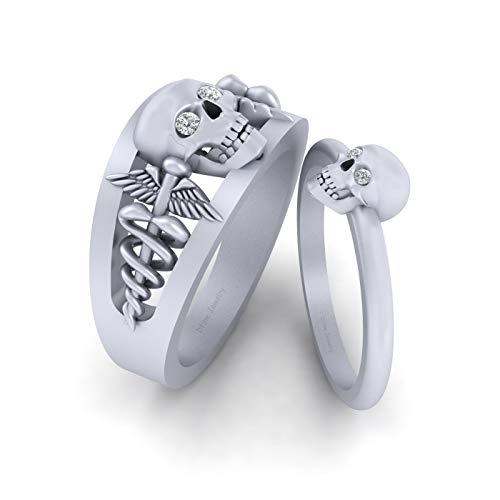 Anillo de compromiso con diseño de calavera y serpiente y alas de doctor, oro blanco sólido de 18 quilates, anillo de calavera para parejas, joyería de Halloween