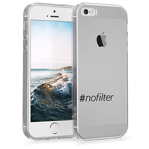 Preisvergleich Produktbild kwmobile Apple iPhone SE / 5 / 5S Hülle - Handyhülle für Apple iPhone SE / 5 / 5S - Handy Case in Hashtag Nofilter Design Schwarz Transparent
