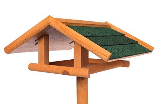 Edles Vogelhaus Zedernholz 3024 mit Ständer Massivholz 120 cm hoch und mit Schindeldach gedeckt Futterkrippe Futterspender Futterhaus