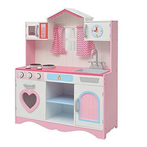 Estink Rosa Cucina Giocattolo in Legno per Bambini con 2 mobiletti dispensa e vano con 2 Ripiani, con Rubinetto e acquaio, 82 x 30 x 100 cm