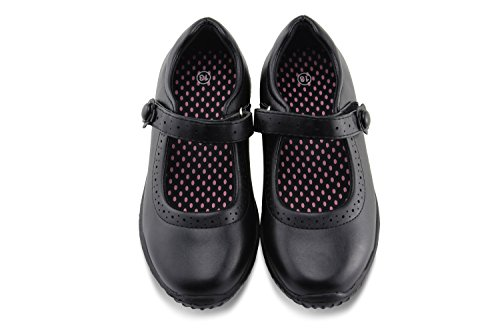 JABASIC Girl's Mary Jane School Uniform Shoes (10,Black)