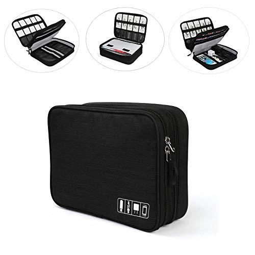 Jelly Comb Elektronische Tasche für Nintendo Switch, Doppelte Schichte Elektronik Organizer Kabeltasche für Tablets, USB Ladekabel, Powerbank, iPad, Spielkarte usw, Schwarz
