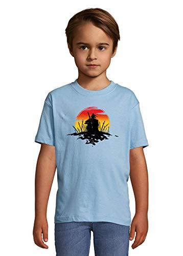 Luckyprint Samurain in A Battle Field Minimalistic Silhouette Sun Heaven Kids Colorful T-Shirt 4 Year Old