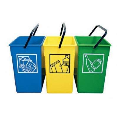 PLASTICOS HELGUEFER - Pack de 3 Cubos ecológicos selectivos de 15 litros (Sin Tapa)