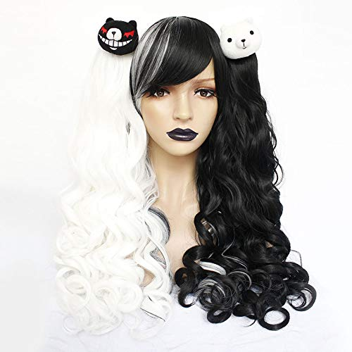 Anogol Hair Cap+Lolita Wigs Black and White Cosplay Wig Long Curly Wigs with 2 Bears