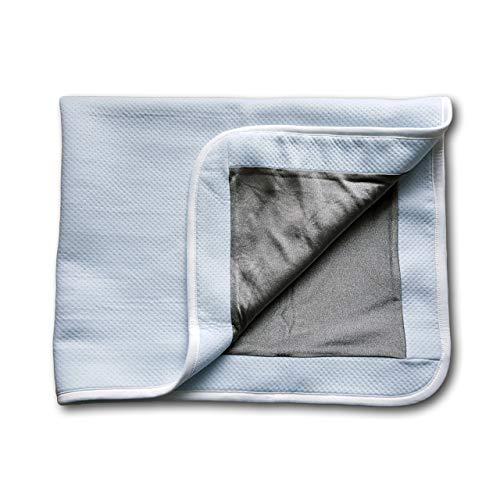 Protección contra la radiación, manta plateada para bebés y embarazadas, antiradiación, protección EMF, 100% fibras de plata y 100% algodón (azul cielo)