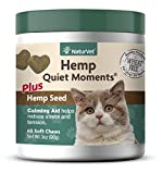 NaturVet – Hemp Quiet Moments Calming Aid For Cats - Plus Hemp Seed – Helps Reduce Stress & Promote Relaxation – Great for Storms, Fireworks, Separation, Travel & Grooming – 60 Soft Chews