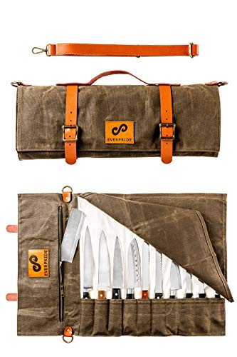 Canvas Knife Roll Bag Stores 10 Knives up to 19' PLUS Zipper...