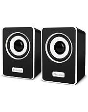 PCスピーカー、Phission ミニスピーカー 超小型 ステレオ 大音量 USB電源 AUX接続 軽量 コンパクト ポータブルスピーカー パソコン/スマホ/MP3/ゲーム機用 (Mini Speakers)