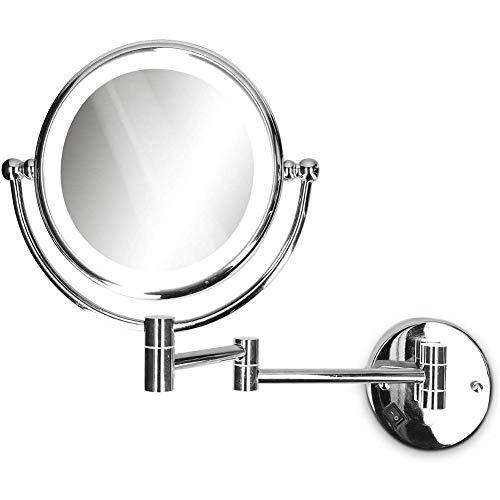 LITI Vergrößerungsspiegel mit LED Beleuchtung Wandmontage - Spiegel 3fach Vergrößerung Kosmetikspiegel 360° drehbar