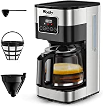 Sboly Programmable Coffee Maker, 10 Cup Drip Coffee Maker with Glass Coffee Pot, Stainless Steel Coffee Maker with Timer and Strength Control, Automatic Coffee Machine Includes Reusable Filter