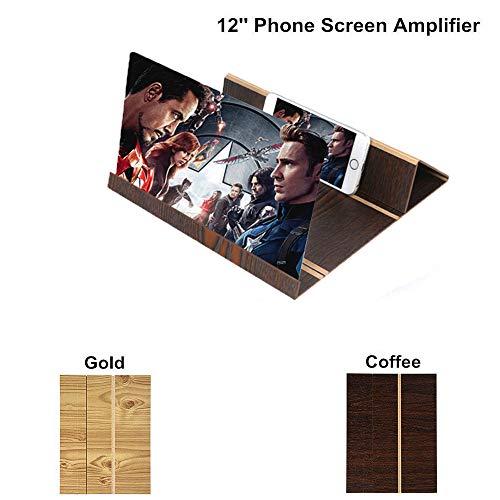 3D Estereoscópico Expansión 12 Pulgadas de Escritorio de Madera Soporte de Video Amplificador de Pantalla del Teléfono Móvil Titular de Montaje Lupa (Café)