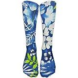 Chaussettes hawaïennes bleu roi pour adolescents, chaussettes de football, chaussettes longues de rugby, chaussettes hautes de 50 cm