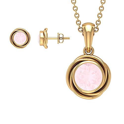 Juego de joyas de remolino de 2 quilates con ónix rosa creado solitario (calidad de reliquia) rosa