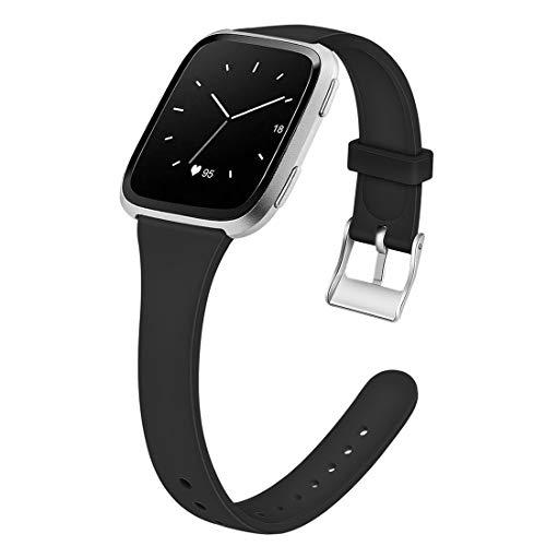 Armband Uhrenarmbänder Silikon Slim Strap Zubehör Smartwatch Ersatzbänder Für Frauen Männer Jugend Kinder (Color : Black, Size : L)