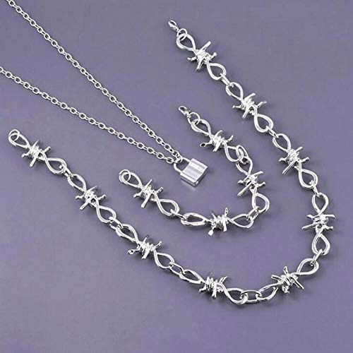 ZHIRCEKE Collar de Alambre de púas gótico Punky de la aleación 1 del Collar de la Pulsera de los Hombres de la Pulsera de la joyería de Plata de la Espina