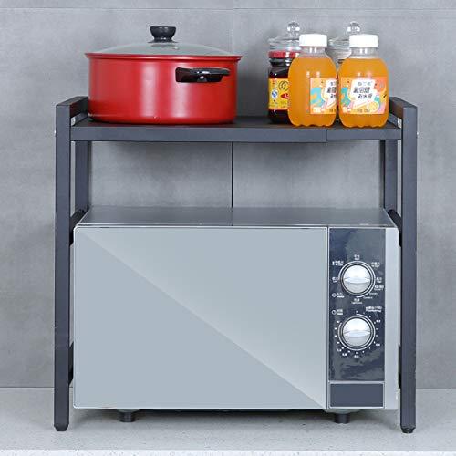 Shelf Mikrowellenofen Rack Regal Expandierbare Küchenzähler Lager Veranstalter Mikrowellenständer Toaster Ofengestell Mit Haken Carbon Edelstahl Easy Montage (35-70x36x47cm)