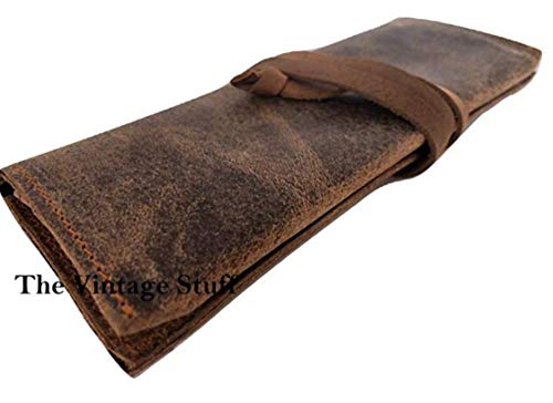 Genuine Buffalo Leather Pencil Case Pen Bag Storage Pouch Organizer, Leather Pencil Roll Pen and Pencil Case Stationery Holder Pencil Roll - Dark Brown